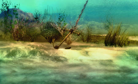 an imaginary underwater scenery with sunken anchor