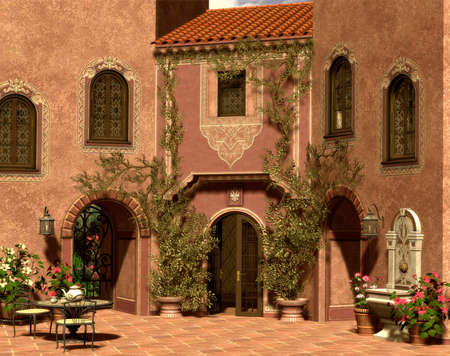A sunny afternoon on a Mediterranean courtyard photo