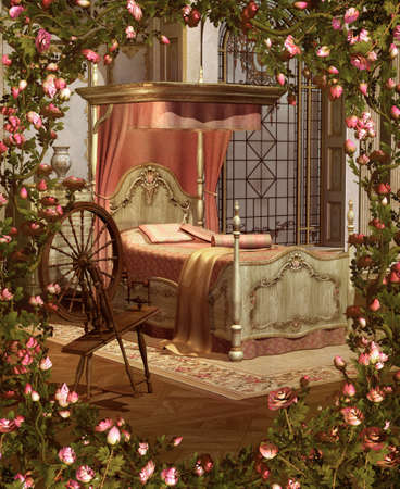 A pink bedroom with spinning wheel surrounded by roses