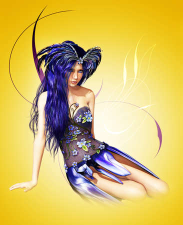 A fairylike young Lady in indigo-blue dress and blue hair photo