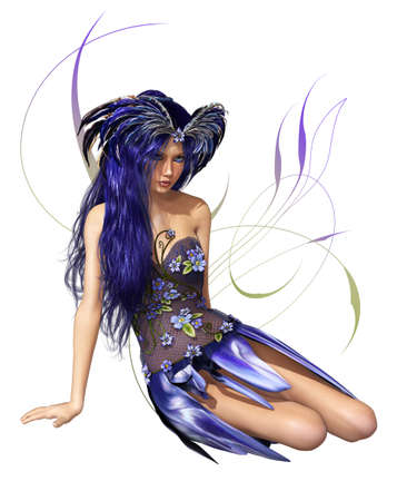 cute fairy: A fairylike young Lady in indigo-blue dress and blue hair Stock Photo