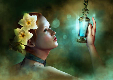 magic lamp: a portrait of a young lady with hibiscus blossoms in her hair