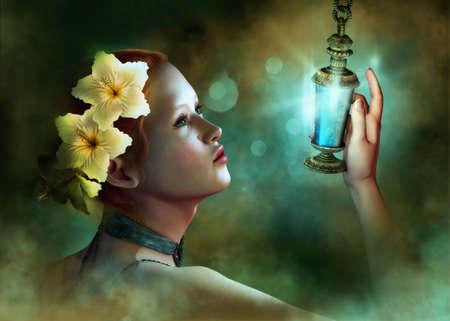 lampara magica: un retrato de una joven con flores de hibisco en el pelo