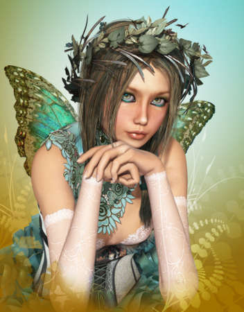 elves: a cute fairy with butterfly wings