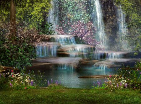 a magical landscape with waterfalls, flowers and trees photo