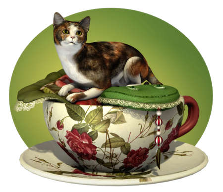 calico cat: a decorative illustration with a calico cat