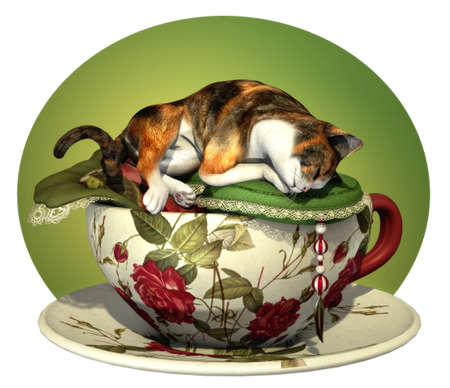 calico cat: a decorative illustration with a sleeping cat