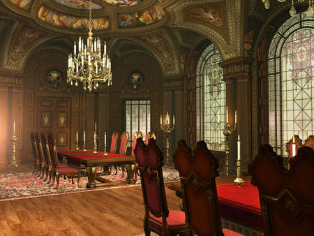 a luxurious dining-hall in baroque style photo