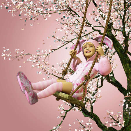 a little girl in bunny costume sitting on a swing photo