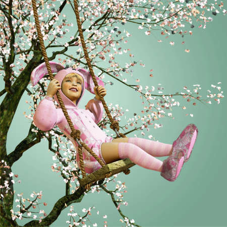 girl on swing: a little girl in bunny costume sitting on a swing