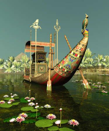 horus: una corteza de Egipto flotando en el Nilo Foto de archivo