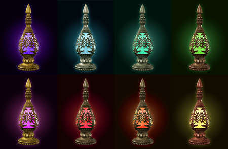 eight bottles in different metal materials and different colors Stock Photo - 13896440