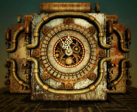 cypher: a clock in steampunk style Stock Photo