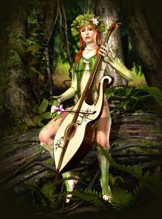 magical forest: a forest nymph makes music