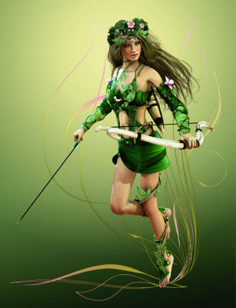 a forest fairy with bow and arrow photo