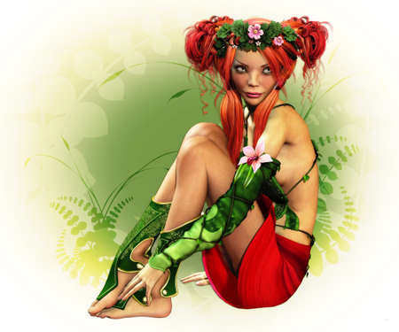 a fairylike girl with wreath and elven dress photo