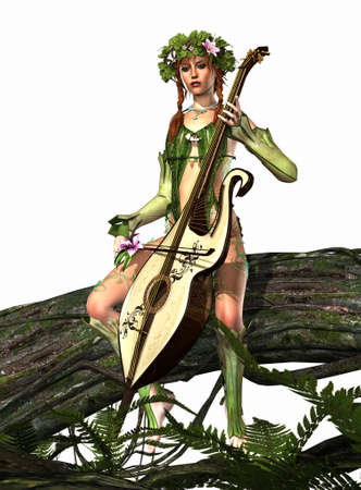 magic lily: a forest nymph makes music
