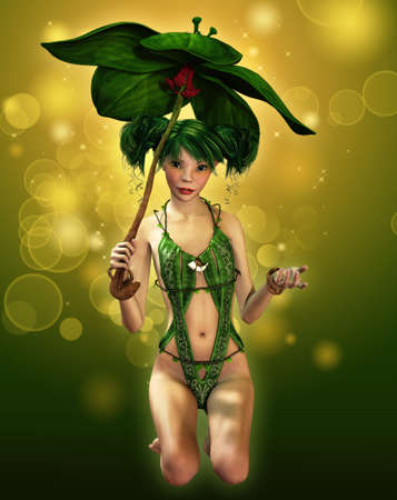 tinker bell: a fairylike girl with parasol and elven dress Stock Photo