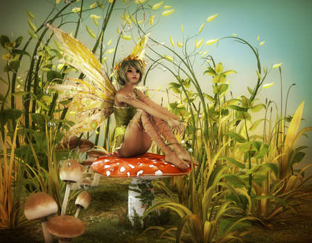 fantasy art: a little fairy is sitting on a fly agaric