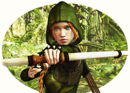 ein Bogenschütze Mädchen in Robin-Hood-Kleidung