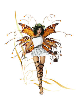 fairyland: A graceful fairy with wings, wreath and lantern