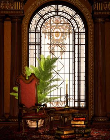 comfy: A nostalgic interior scene with armchair Stock Photo