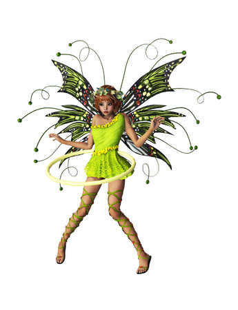 A cute fairy with wings, wreath and hula-hoop photo