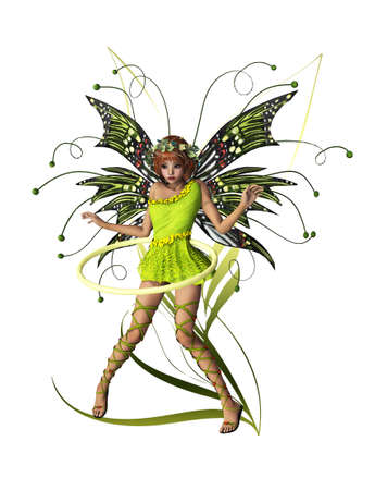 fairyland: A cute fairy with wings, wreath and hula-hoop