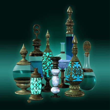 golde: 9 bottles with golden ornaments in turquoise colors Stock Photo