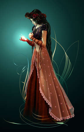 dark elf: a high lady with a fairy in her hand