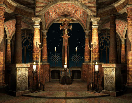 3d art: an ancient hall with pillars and cross