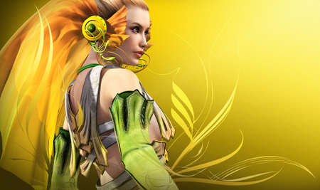 graceful: a graceful fairy in yellow and green