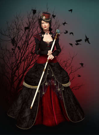 3d vampire: a mysterious lady in vintage dress Stock Photo