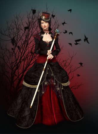 samhain: una misteriosa dama en vestido de �poca Foto de archivo