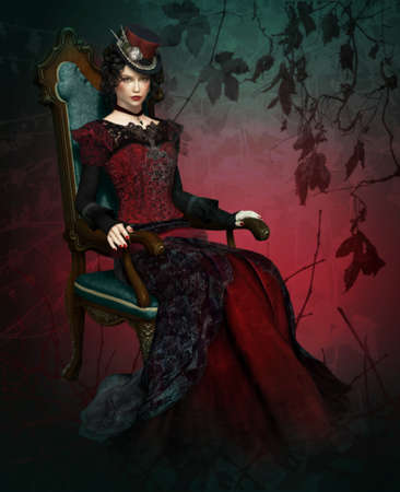 3d vampire: a lady in vintage clothing sitting in a armchair Stock Photo
