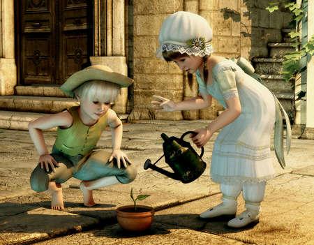 vintage children: two children in vintage style Stock Photo