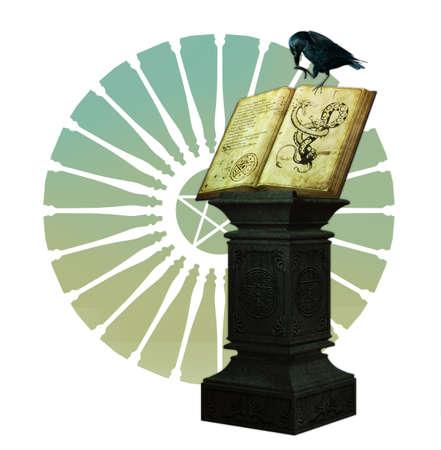 pentacle: un corvo nero � seduto su un libro magico