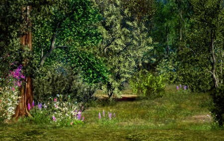 a magical landscape with trees, flowers and trees Stock Photo - 13896603