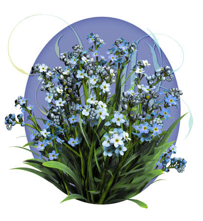 a bouquet of forget me not flowers photo