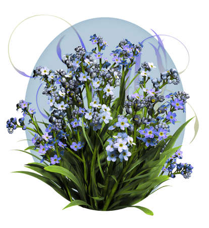 a bouquet of forget me not flowers in blue colors photo