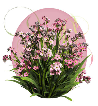 a bouquet of forget me not flowers in pink colors photo