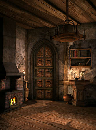 chandeliers: room in a medieval fantasy style