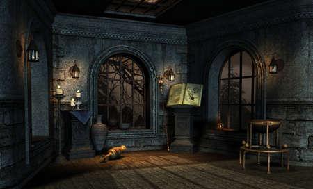 luz de velas: habitación en un estilo de fantasía medieval