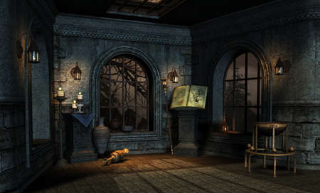 oillamp: room in a medieval fantasy style