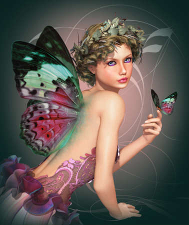 a little fairy with a butterfly in her hand photo