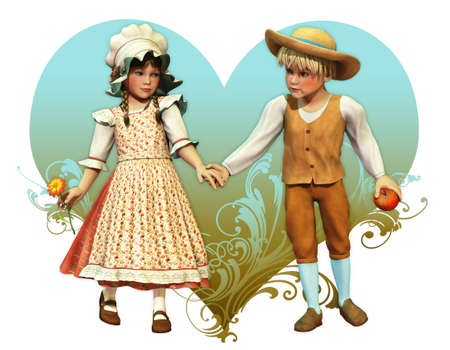 a decorative picture with two children in vintage style photo