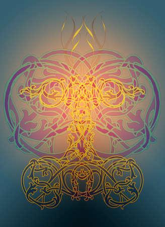 ecard: Un illusttration ornamentale in stile celtico nodi Archivio Fotografico