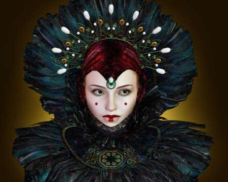 maquillaje de fantasia: retrato de una mujer joven con la fantas�a de maquillaje Foto de archivo