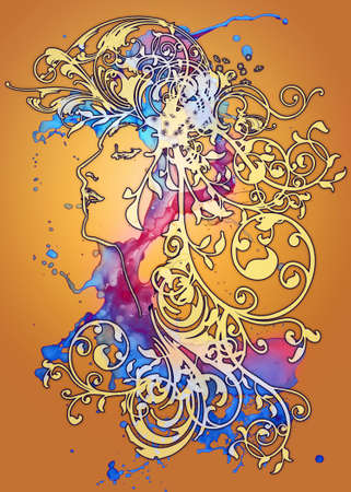 face art: An ornamental illusttration in the art nouveau style
