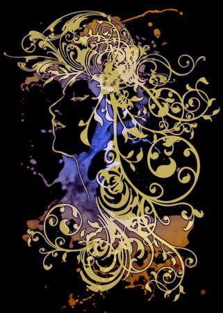An ornamental illusttration in the art nouveau style photo